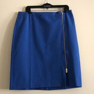 Gorgeous Blue Talbots Skirt With Gold Tone Zipper